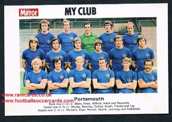 1970 My Club Daily Mirror postcard-size card Portsmouth
